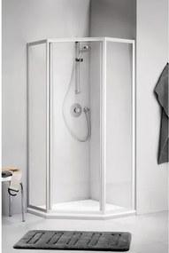 Sealskin Get Wet C110 douchecabine vijfhoek 90x90x190cm deurmaat 710 met pendeldeur mat zilver profiel en helder glas LFP971MZ-A10