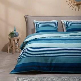 Fresh & Co Blue Stripes 1-persoons (140 x 220 cm + 1 kussensloop) Dekbedovertrek