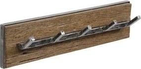 Livin24 | Kapstok Elles 5 haken breedte 15 cm x diepte 12 cm bruin, zwart kapstokken hardhout, metaal opbergen decoratie | NADUVI outlet
