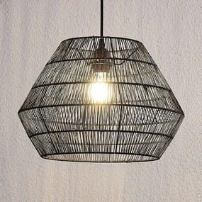 Hanglamp Ottavio van papieren vlechtwerk, zwart