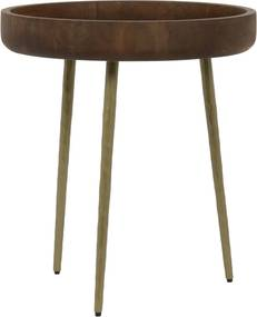 Bijzettafel CALUMA - hout-brons - Ø50x55cm
