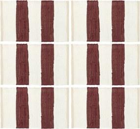 Placemats 6 st chindi gestreept 30x45 cm bordeauxrood en wit