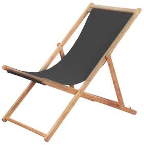 Strandstoel inklapbaar stof grijs