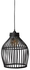 Hanglamp bamboe - zwart - 30x30x37 cm