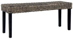 Bankje 110 cm natuurlijk kubu rattan en massief mangohout zwart