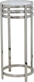 Bijzettafel RINGS zuil - nikkel + glas - S