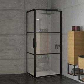 Douchecabine Riho Grid met Klapdeur 100x100 cm 6mm Helderglas Zwarte Profielen