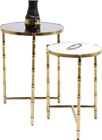 Kare Design Hipster Bamboo Gouden Bijzettafelset - 44.5 X 44.5cm.