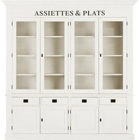 Goossens Buffetkast Valence, 4 glasdeuren 4 dichte deuren 4 laden, wit mdf, 215 x 220 x 48 cm, stijlvol landelijk