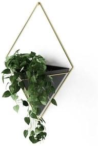 Umbra Trigg plantenhouder 10x22x39cm 1 stuk hangend keramiek zwart/goud 470752-1137