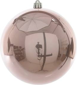 Kerstbal plastic emaille/200mm/poeder roze