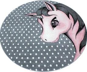 Kids Vloerkleed - Unicorn - Rond - Roze 160 x 160 cm