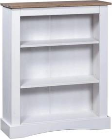 Boekenkast 3 schappen 81x29x100 cm grenenhout Corona-stijl wit