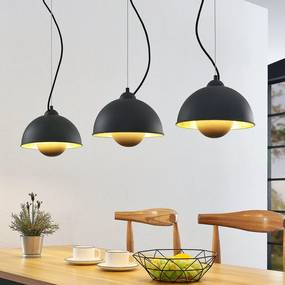 Hanglamp Gretja met drie lampjes, zwart-goud - lampen-24