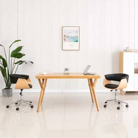 Kantoorstoel draaibaar gebogen hout en kunstleer zwart