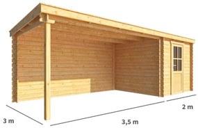 Blokhut met overkapping Els 550 cm bij 300 cm diep Lessenaarsdak