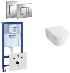Villeroy en Boch Subway Compact toiletset bestaande uit inbouwreservoir, diepspoel wandcloset met toiletzitting en bedieningsplaat verticaal/horizontaal chroom 0729205/1024229/1024232/0720001