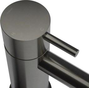 Cobber 1-hendel lage wastafelmengkraan met gebogen uitloop, verouderd ijzer