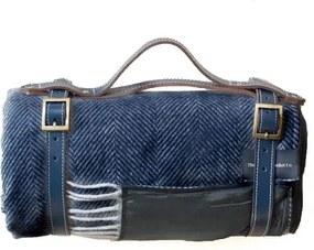 Picknickkleed wol: donkerblauw, visgraat Zonder band