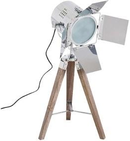 HOMdotCOM Tafellamp met 3 poten retro hout zilver E14 33 x 33 x 75cm