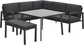 Garden Impressions Tropea lounge dining set 5-delig - donker grijs