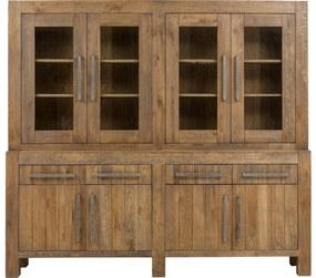 Goossens Buffetkast Roots, 4 glasdeuren 4 dichte deuren 4 laden