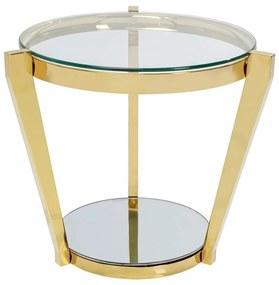 Kare Design Monocolo Gold Gouden Bijzettafel Glas - 50 X 50cm.