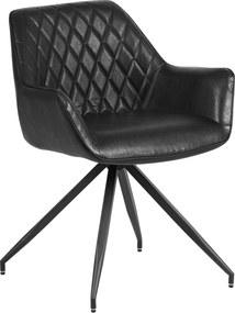 Dimehouse | Eetkamerstoel Gian - totaal: breedte 61 cm x diepte 61 cm x hoogte zwart eetkamerstoelen kunstleer, metaal stoelen | NADUVI outlet