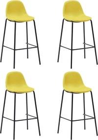 Barstoelen 4 st stof geel