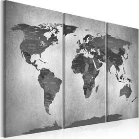 Schilderij - Wereldkaart , Grijze wereld op beton II , 3 luik ,Betonlook