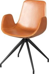 Nordiq Kelsey chair - Eetkamerstoel - Leer - Cognac - Eetkamerstoel - Kuipstoel - Leren stoel - Modern - Design meubel