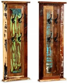 Kapstokken 2 st 38x100 cm massief gerecycled hout