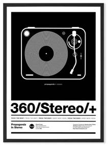 Stereo Poster ingelijste print, A2, zwart en wit