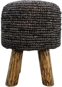 HSM Collection | Kruk Malibu diameter 34x46 zwart was krukken raffia poefs & krukken meubels | NADUVI outlet