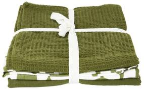 Theedoeken legergroen - set van 3 - 65x45 cm