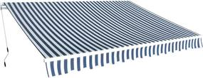 Luifel handmatig uitschuifbaar 350 cm blauw en wit