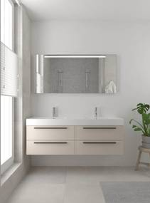 Bando badmeubelset 150 cm | Dubbele wasbak | spiegel | zwarte greeplijst- kasjmier grijs