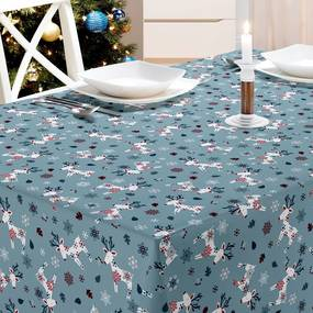 Kerst Tafelzeil Reindeer Blauw