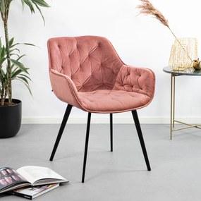 Kave Home Eetkamerstoel Mulder Velvet, kleur Roze