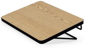 MADE Essentials Besley clip-on nachtkastje, essenhout en zwart