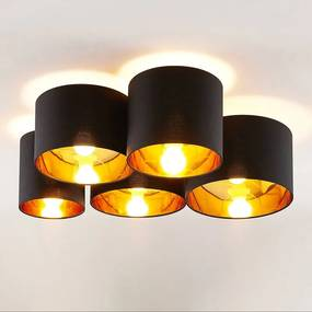 Laurenz plafondlamp 5-lamps 83cm zwart-goud - lampen-24