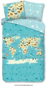 Good Morning kinderdekbedovertrek New Worldmap - blauw - 140x200/220 cm - Leen Bakker