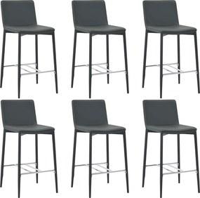 Barstoelen 6 st kunstleer grijs