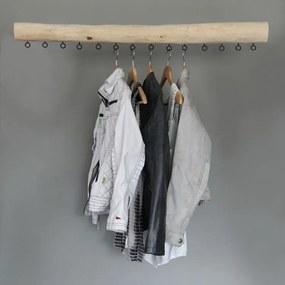 Garderobe Hout,  14 zwarte haken, 1 m