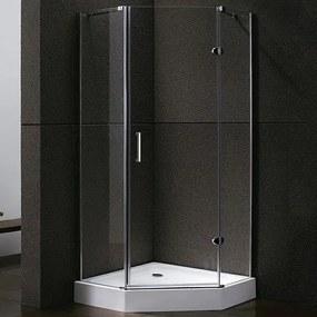 Douchecabine Sirius Vijfhoek Draaideur 100x100x192cm Helder Glas Chroom Profiel 8mm Veiligheidsglas Easy Clean