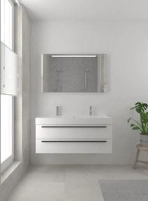 Bando badmeubelset 120 cm | spiegel | zwarte greeplijst- mat wit