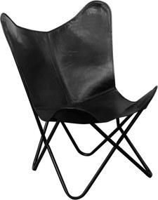 Vlinderstoel zwart echt leer