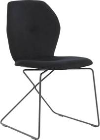 Goossens Eetkamerstoel Manzini zwart stof , modern design