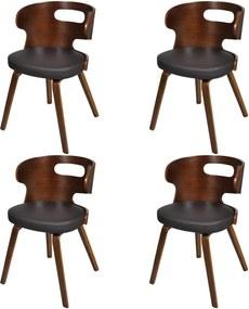 Eetkamerstoelen 4 st gebogen hout en kunstleer bruin