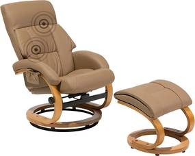 Massagestoel met hocker beige FORCE